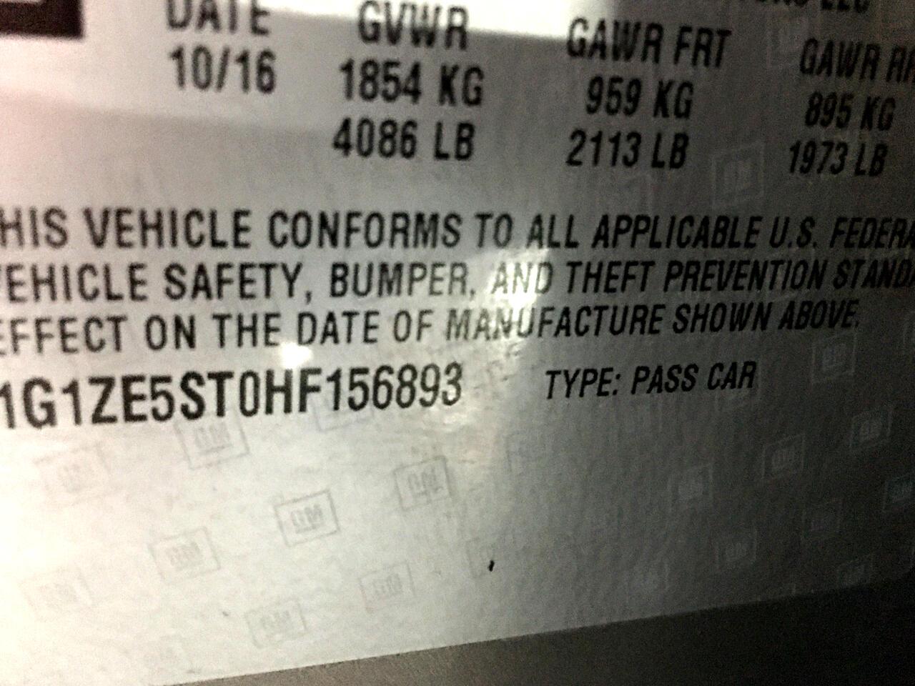 Pre-Owned 2017 Chevrolet Malibu 4dr Sdn LT w/1LT