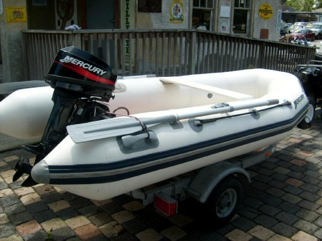2005 Mercury Dingy Inflatable boat motor and trailer like new