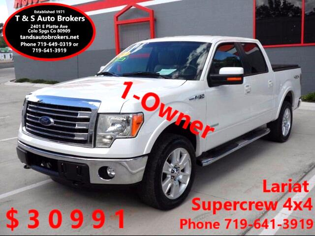 2013 Ford F-150 1-OWNER ECO BOOST 4X4 S-CREW LARIAT