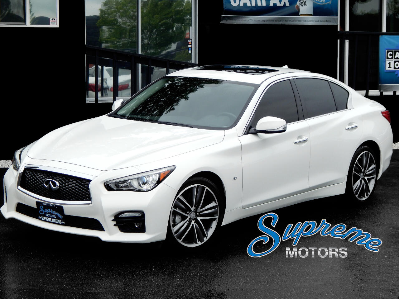 2015 Infiniti Q50 Sport Package, WHITE on BLACK, clean Carfax + LOAD