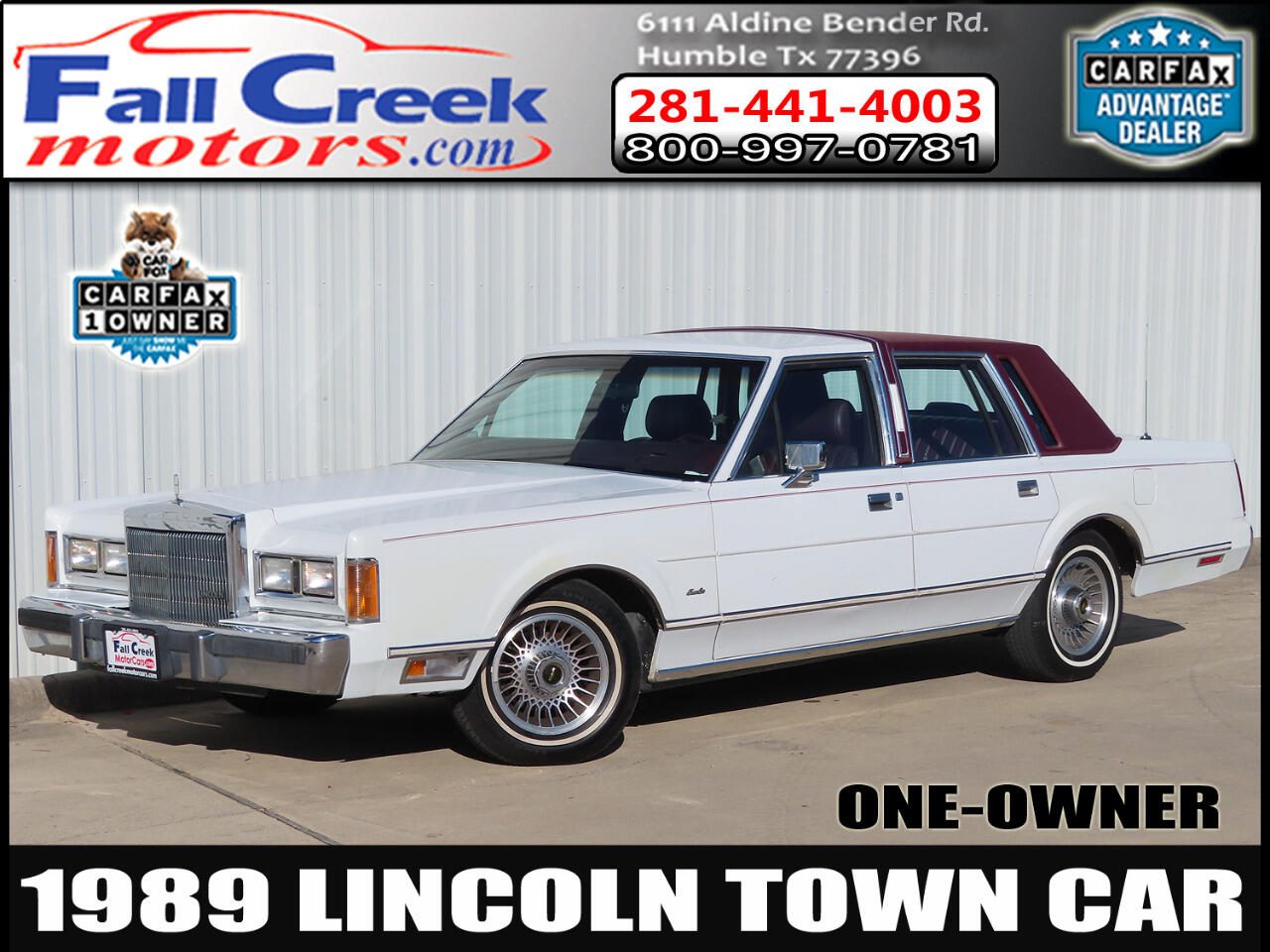 Used 1989 Lincoln Town Car Town Car For Sale In Humble Kingwood Atascoci Tx 77396 Fall Creek Motor Cars