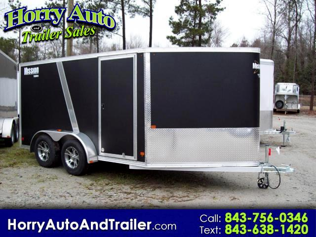2015 Mission MEM 7X12 7 X 12 ENCLOSED MOTORCYCLE V-NOSE RAMP DOOR