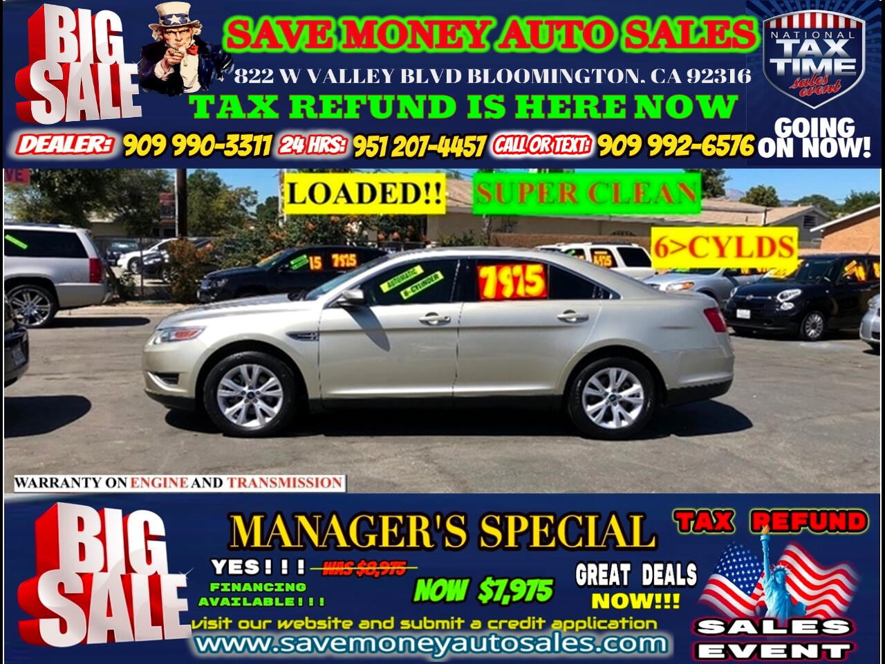 2011 Ford Taurus SEL FWD>>> FULLY LOADED WE MEAN IT!!! PLUS V6