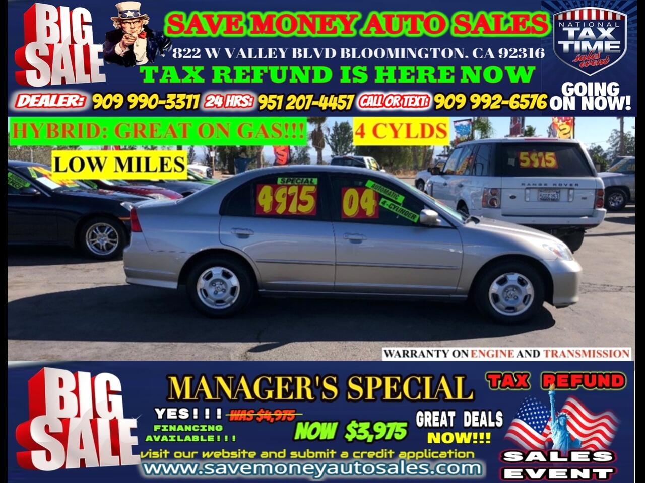 2004 Honda Civic Hybrid SEDAN WITH CVT>>4CYLDS PLUS LOW MILES>>>>