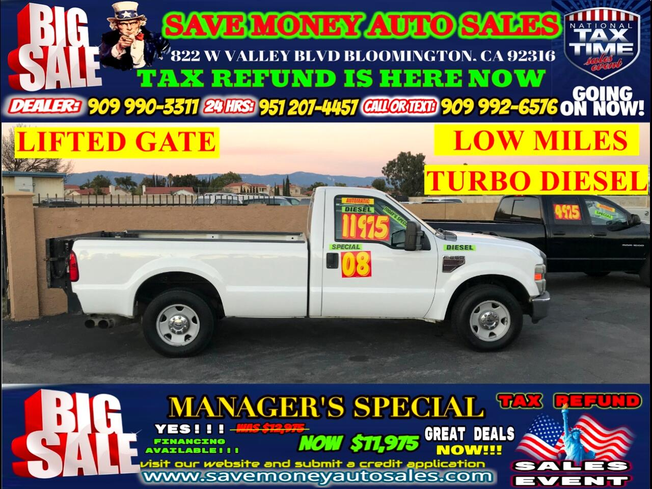 2008 Ford F-250 SD XLT 2WD> LOW MILES> LONG BED> LIFTED GATE>