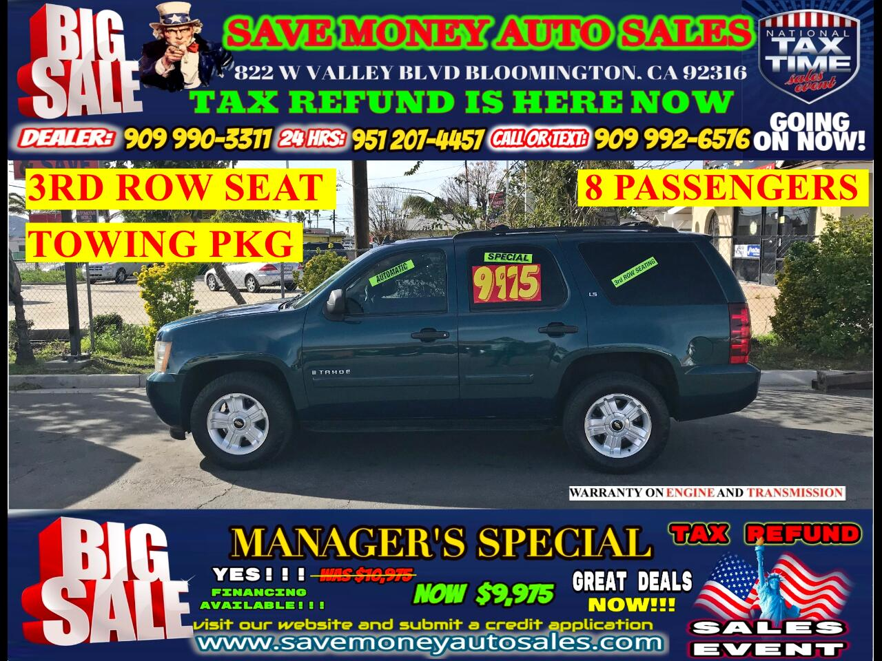 2007 Chevrolet Tahoe LS > 3RD ROW SEAT> 8 PASSANGER> TOWING PKG