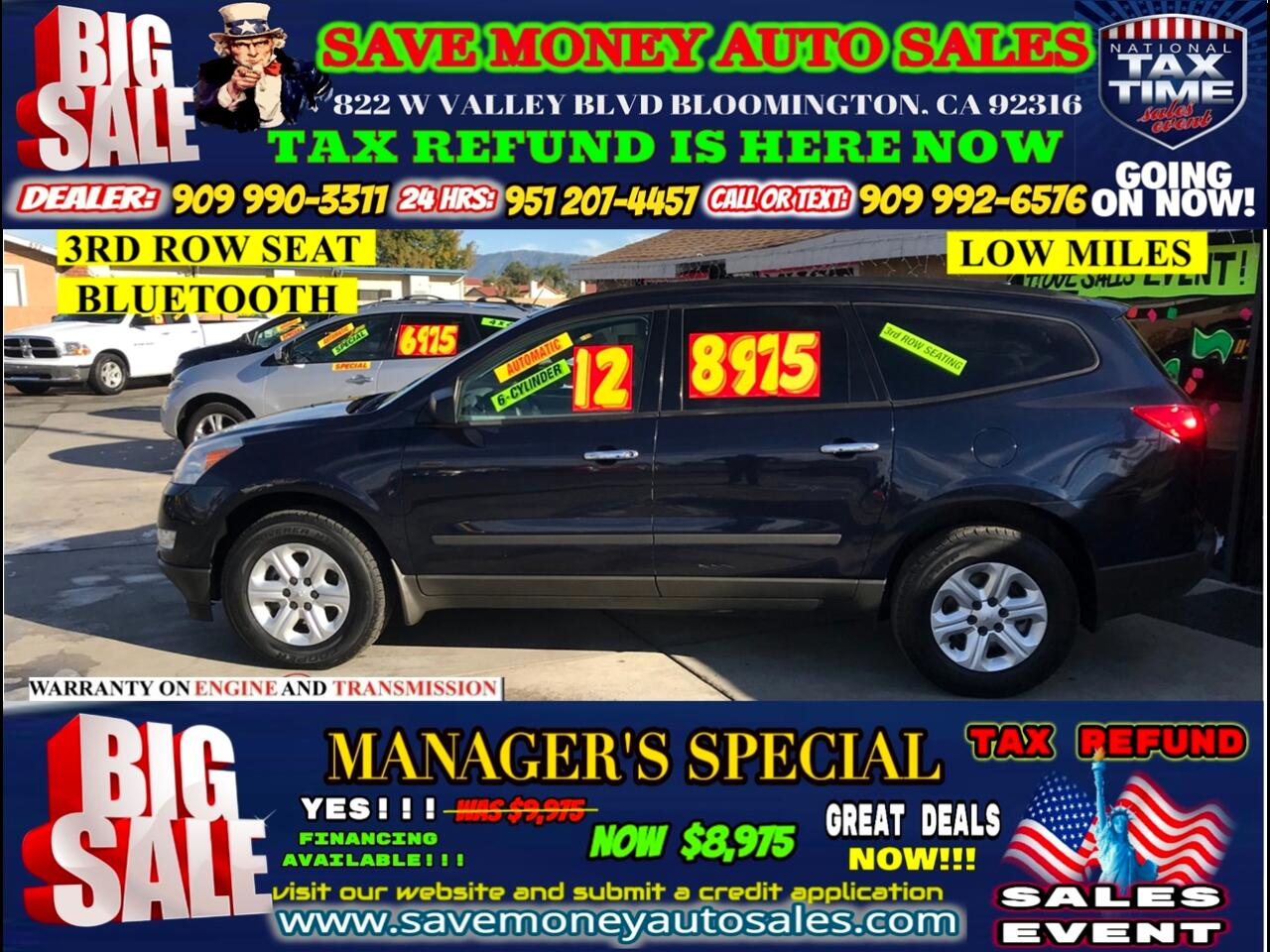 2012 Chevrolet Traverse LS FWD W/PDC>> 3RD ROW SEAT,BLUETOOTH AND MORE!!!!