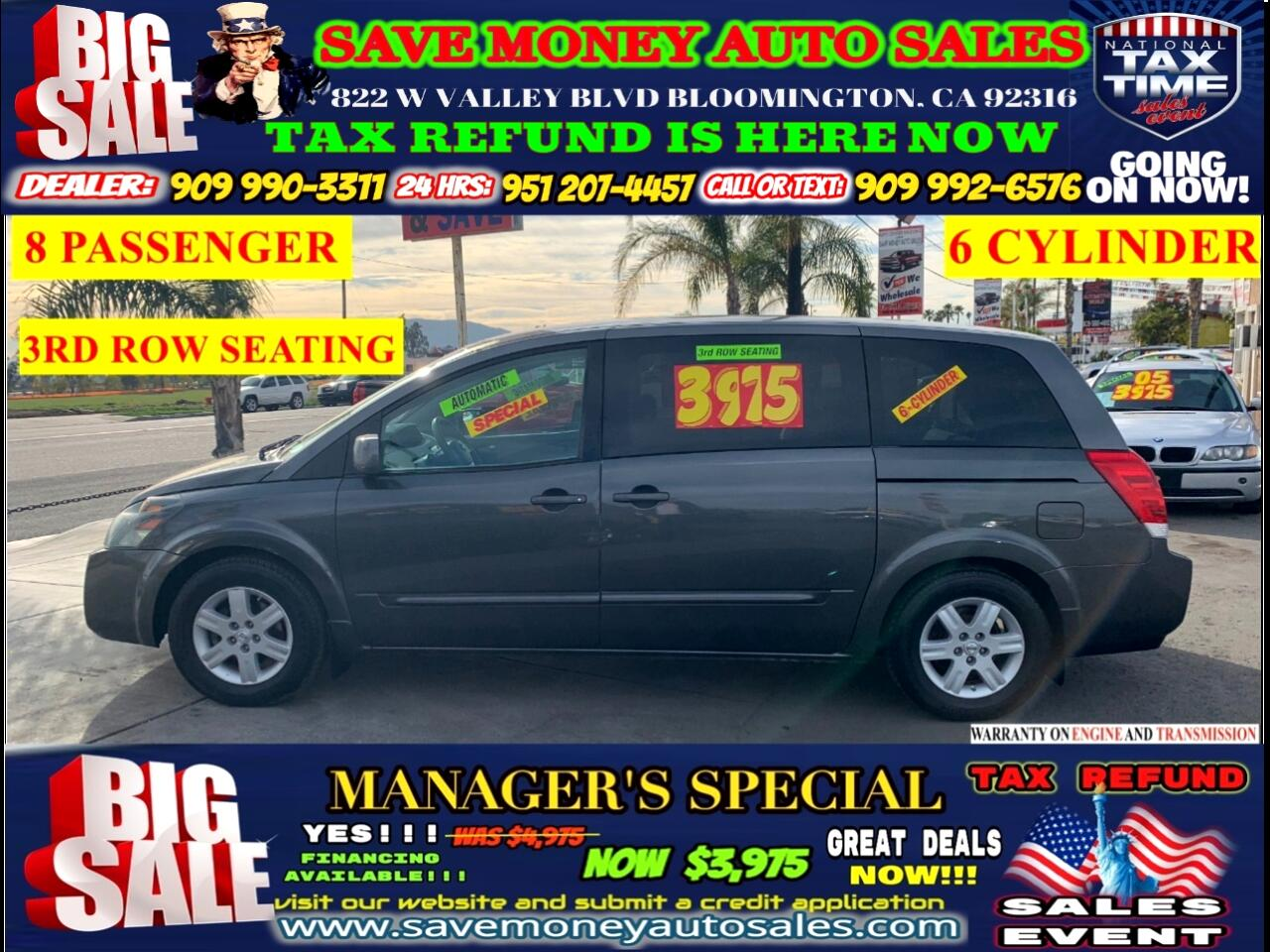 2004 Nissan Quest 3.5 SE> 3RD ROW SEATING> 6 CYLINDER> 8 PASSENGER S
