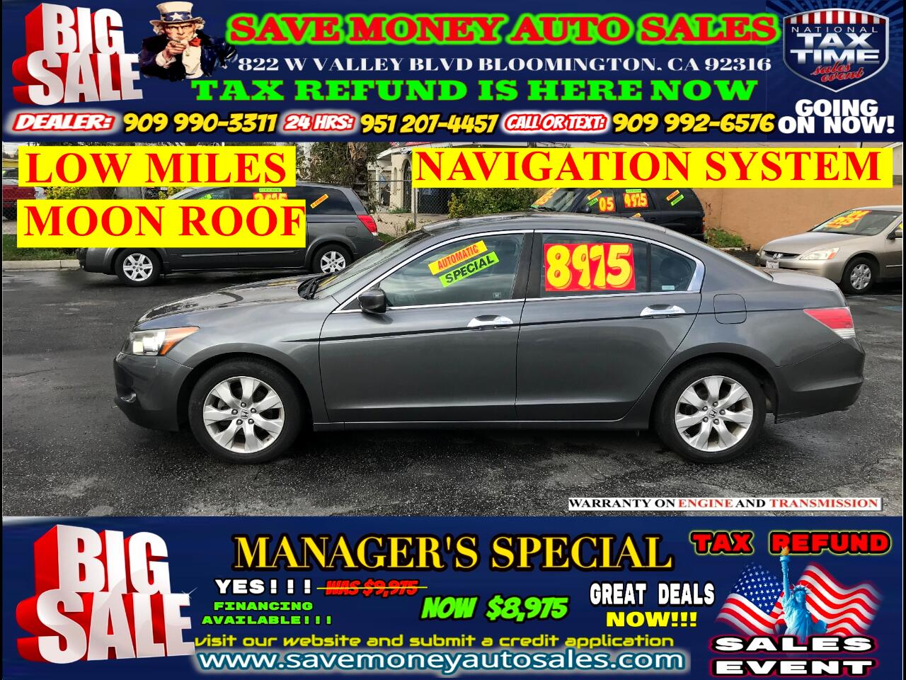 2008 Honda Accord EX-L EDITION V6>NAVIGATION+LOW MILES!!!>FULLY LOAD