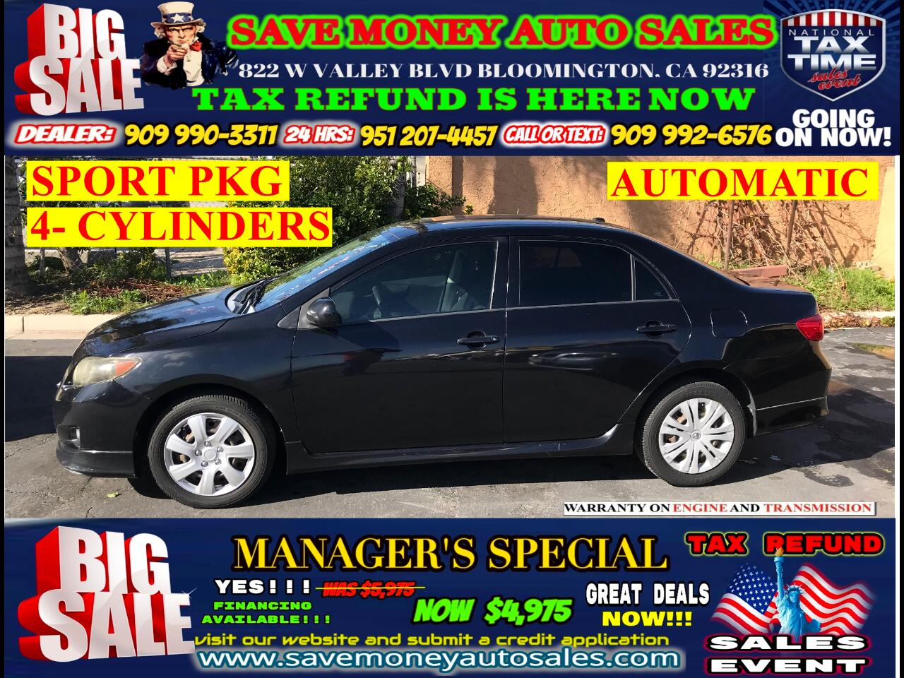 2009 Toyota Corolla S EDITION>>ONLY 4 CYLINDERS+GAS SAVER+SPORTY
