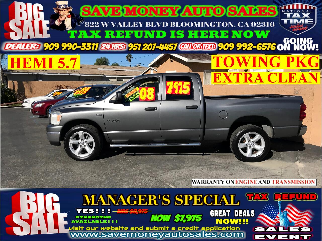 2008 Dodge Ram 1500 SXT QUAD CAB>>HEMI ENGINE 5.7+TOW PACKAGE!!!!