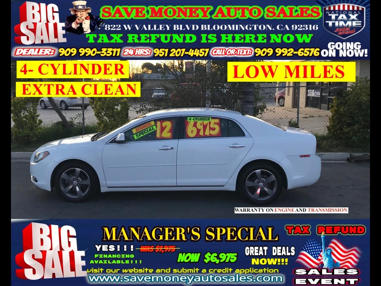 2012 Chevrolet Malibu LT>LOW MILES>USB>EXTRA CLEAN>