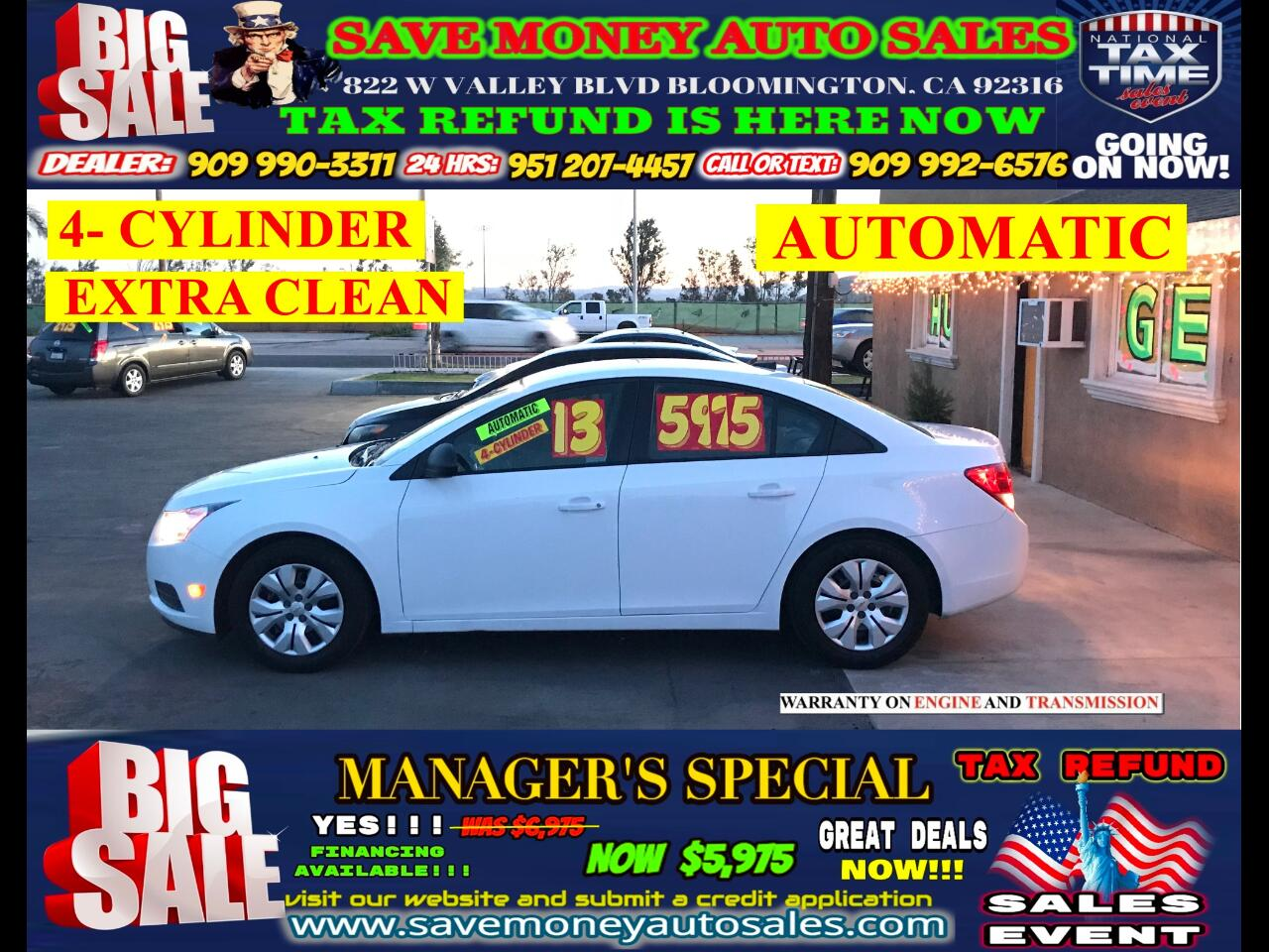2013 Chevrolet Cruze LS>4- CYLINDER>EXTRA CLEAN>INTEGRATED PHONE>
