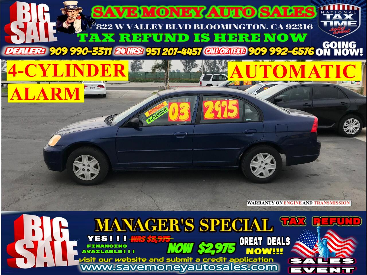 2003 Honda Civic LX SEDAN >>>4 CYLINDERS,AUTOMATIC>>MANAGER'S SPECI