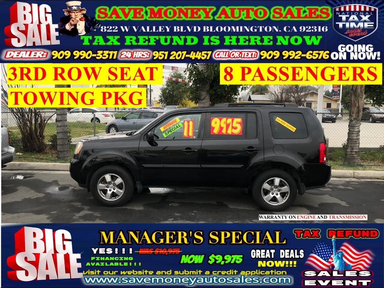 2011 Honda Pilot EX-L 4WD> 3RD ROW SEAT> 8 PASSENGERS>TOWING PKG