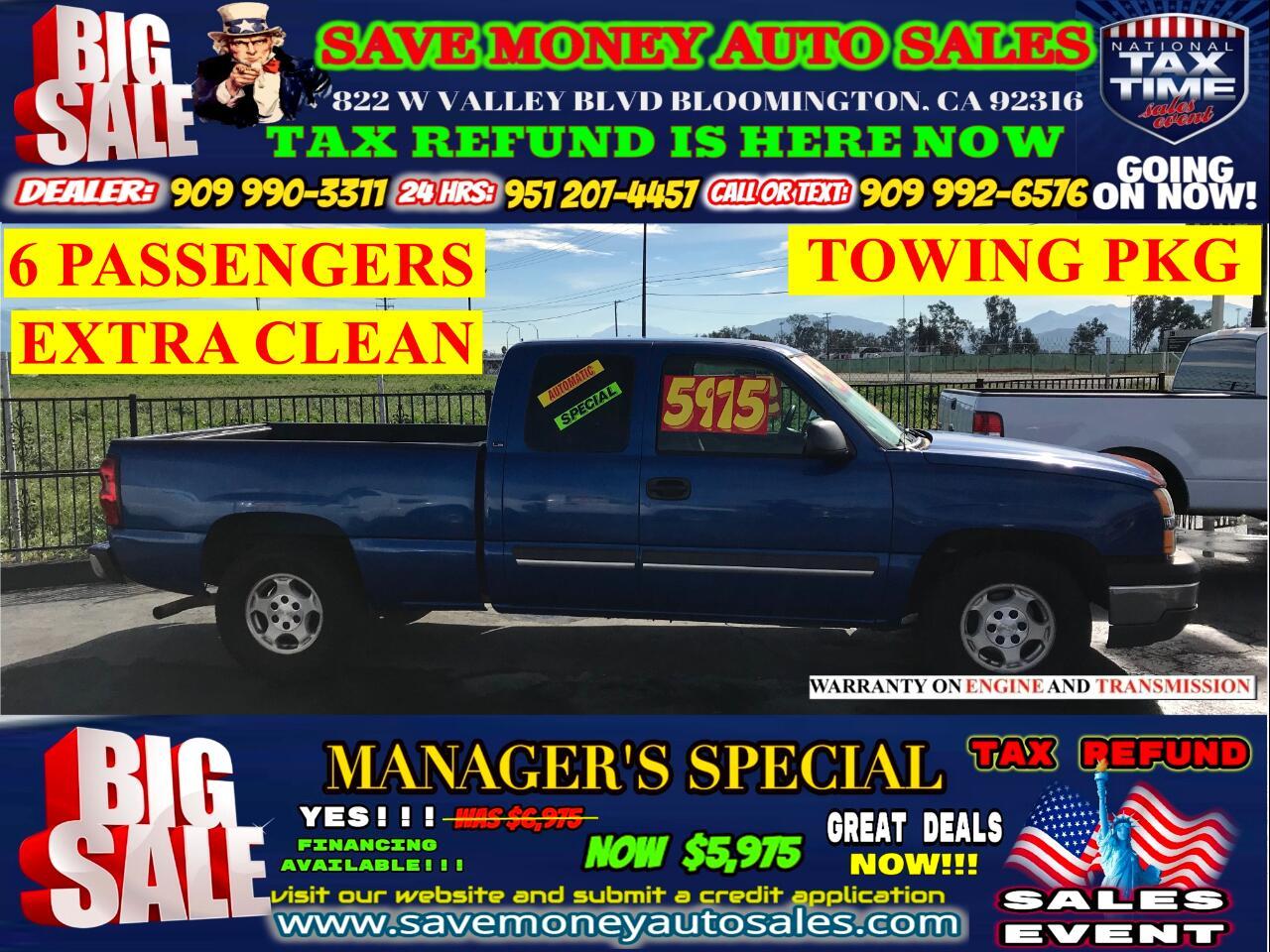 2004 Chevrolet Silverado 1500 LS EXT. CAB LONG BED 2WD> TOWING PKG> 6 PASSENGERS