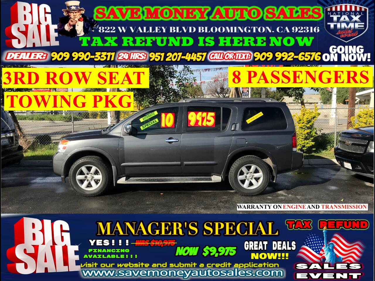 2010 Nissan Armada SE 2WD> 3RD ROW SEAT> 8 PASSENGERS> FULLY LOADED>