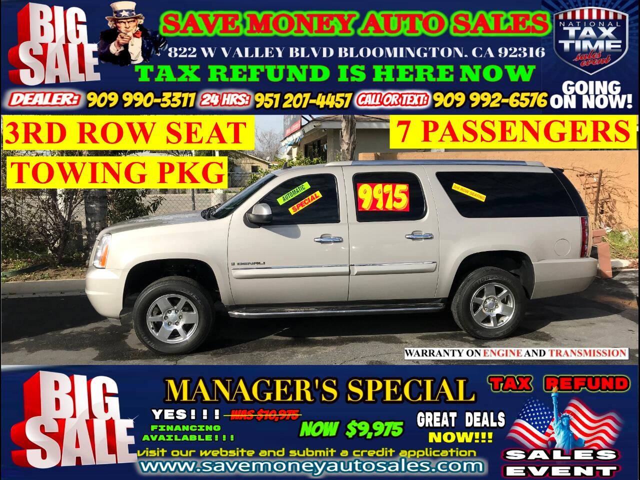 2008 GMC Yukon Denali XL AWD> 3RD ROW SEAT> TOWING PKG> FULLY LOADED