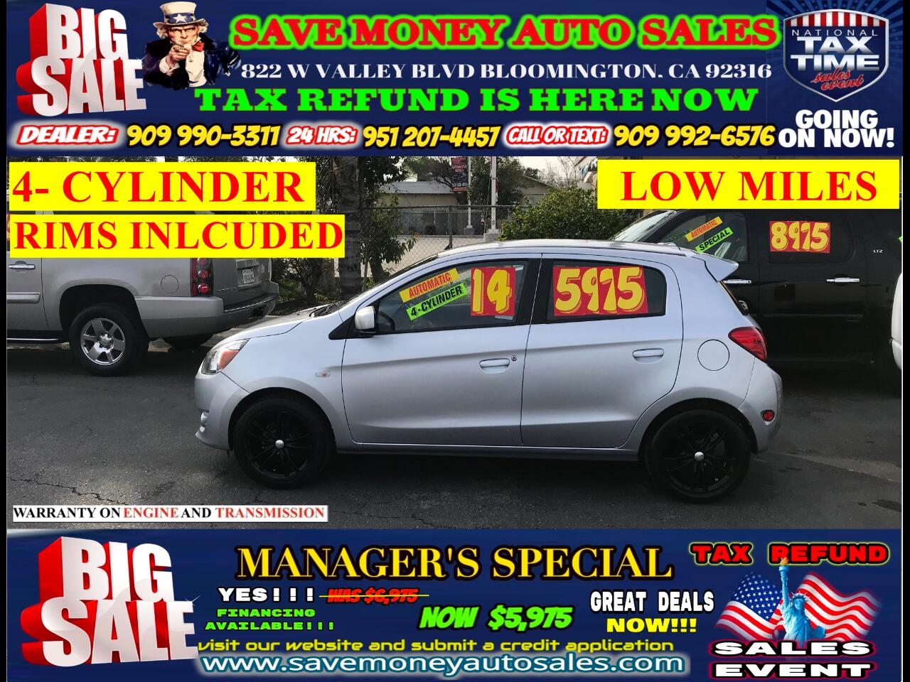 2014 Mitsubishi Mirage LOW MILES> EXTRA CLEAN> 4-CYLINDER> RIMS INCLUDED