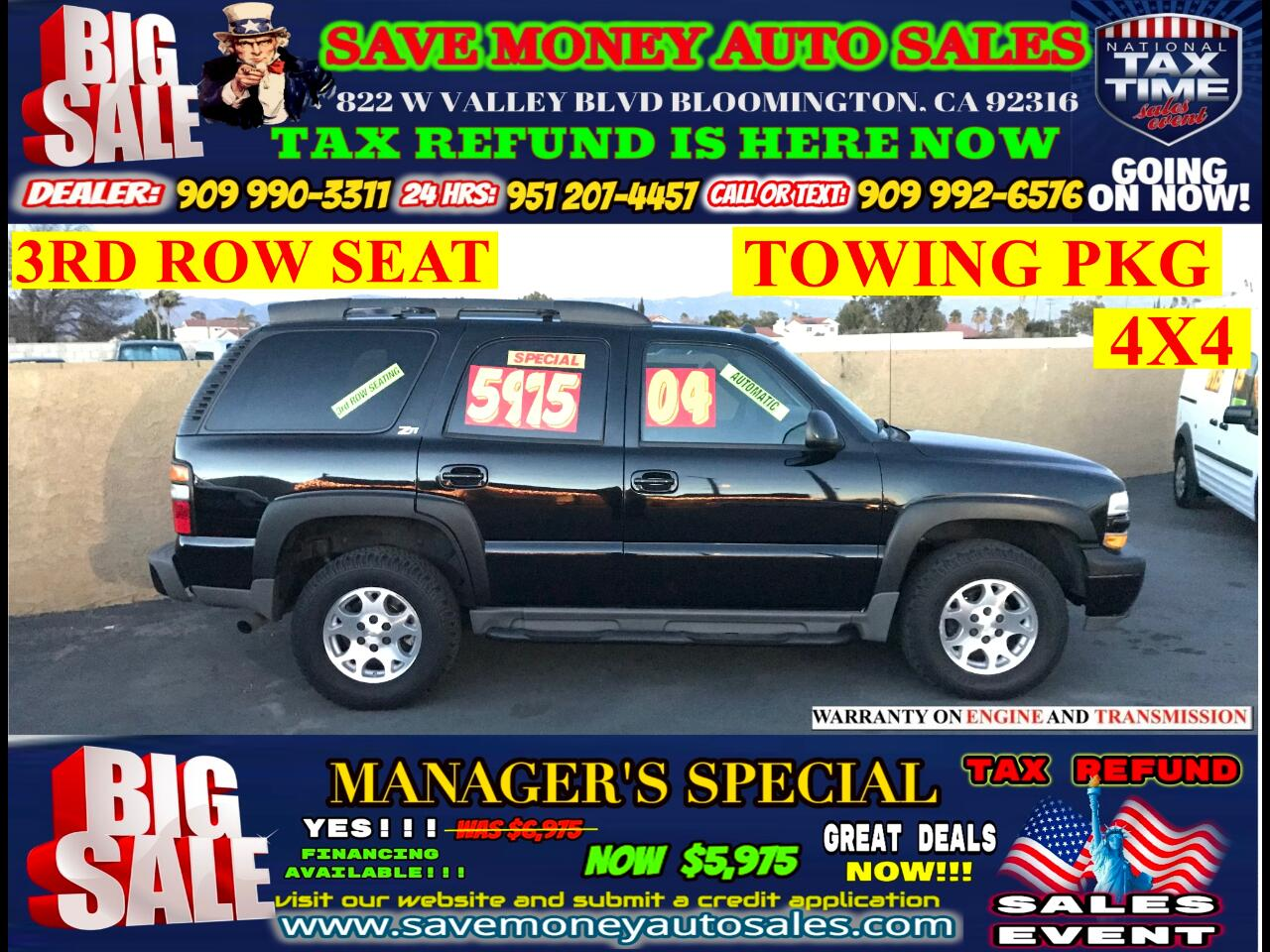 2004 Chevrolet Tahoe >>>4X4>>.3RD ROW SEAT,TOW PKG,BLUETOOTH AND MUCH M