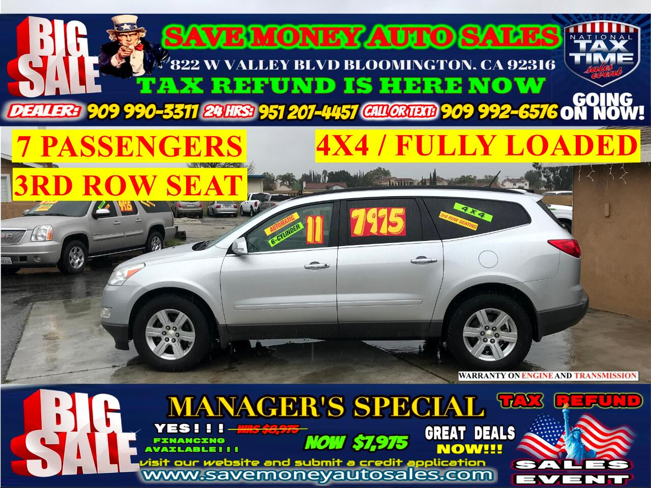 2011 Chevrolet Traverse LT AWD> 7 PASSENGERS> BACKUP CAMERA> EXTRA CLEAN