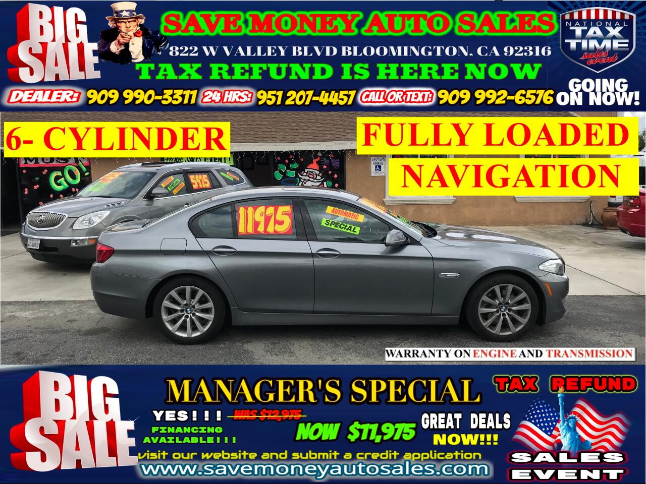 2011 BMW 5-Series 528i> 6-CYLINDER>FULL LEATHER> SUN ROOF>START ENGI