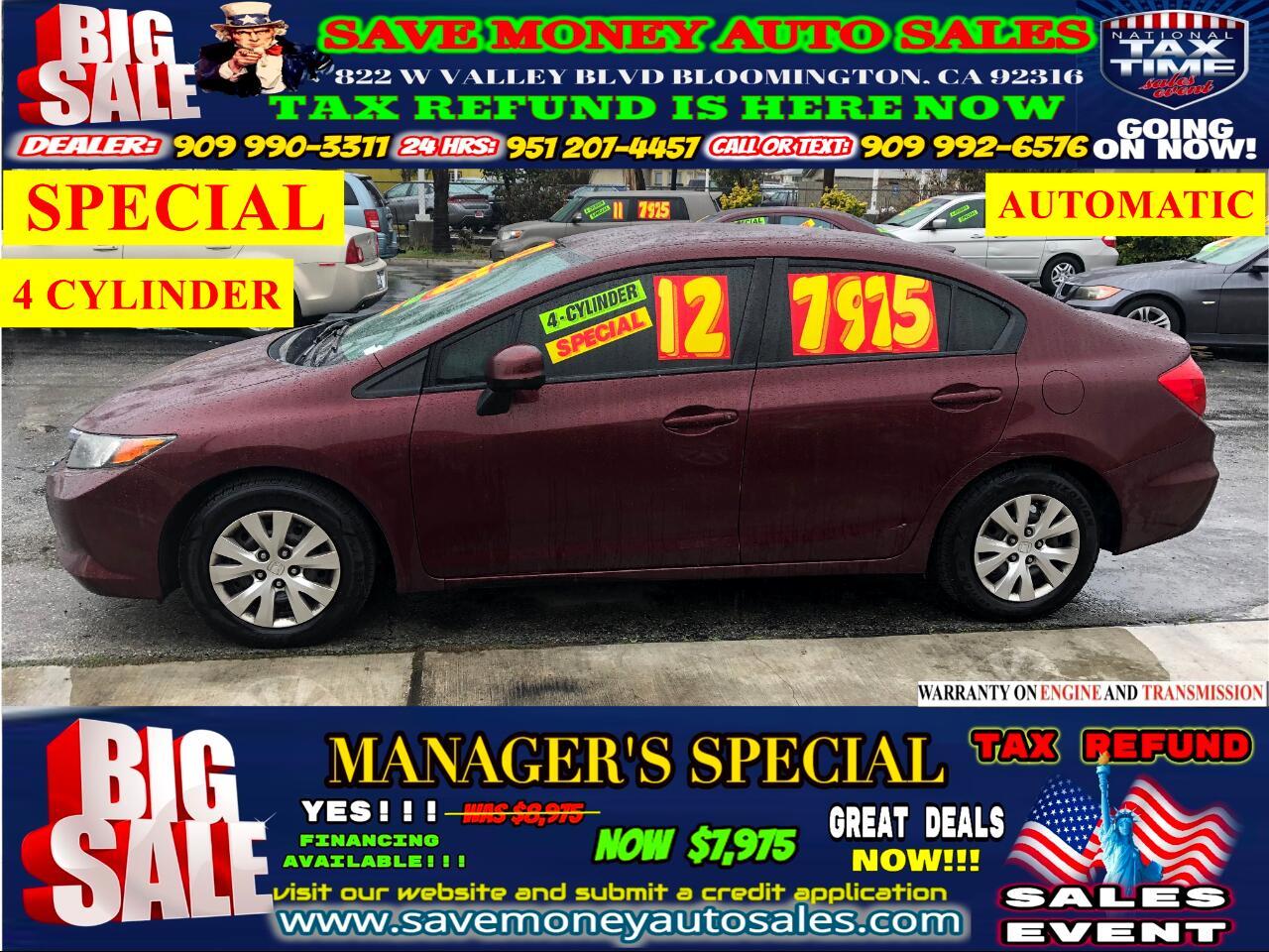 2012 Honda Civic 2012 HONDA CIVIC>>4 CYLINDER>>AUTOMATIC>>EXTRA CLE
