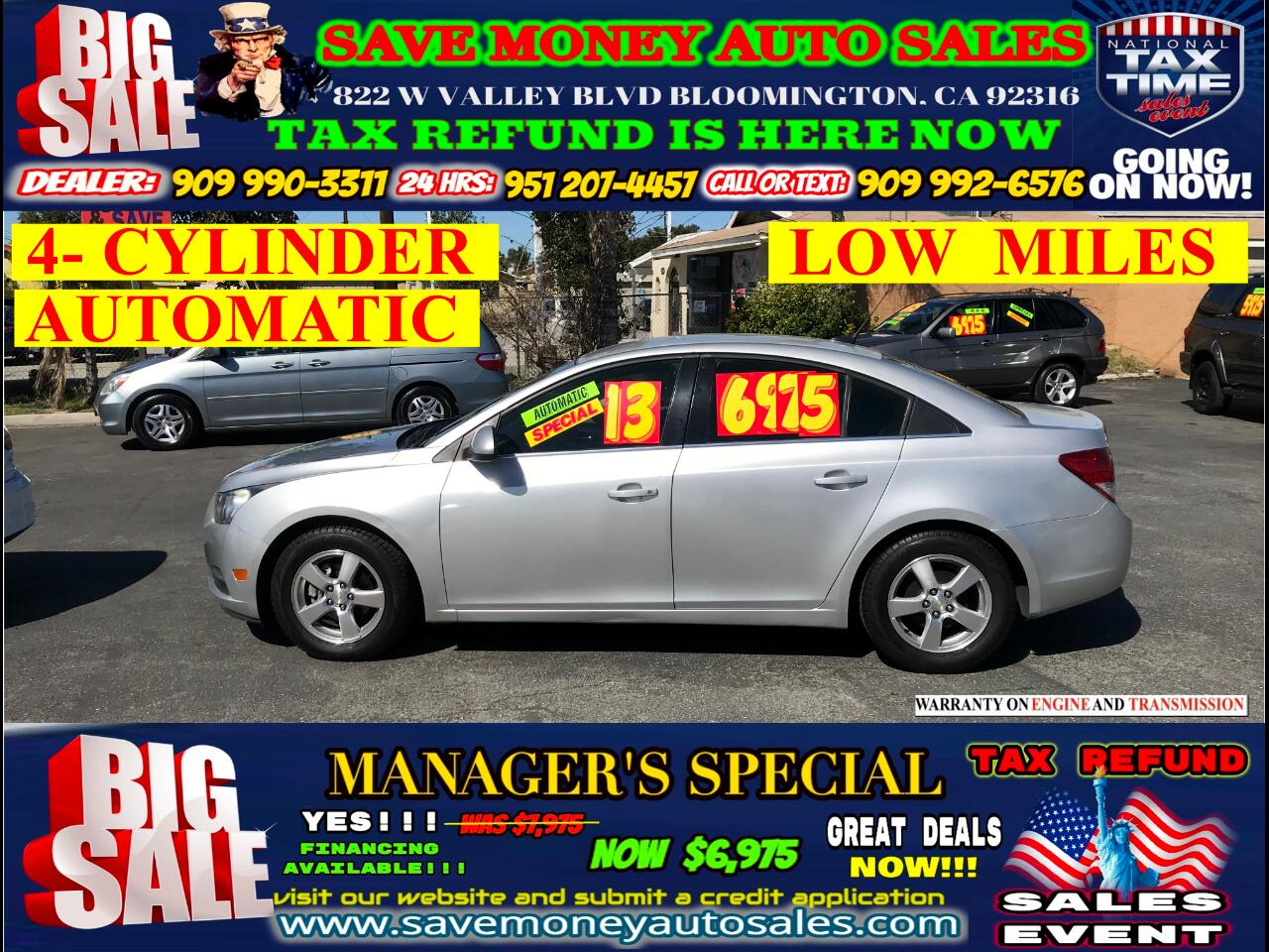 2013 Chevrolet Cruze LT>LOW MILES> 4- CYLINDER> EXTRA CLEAN