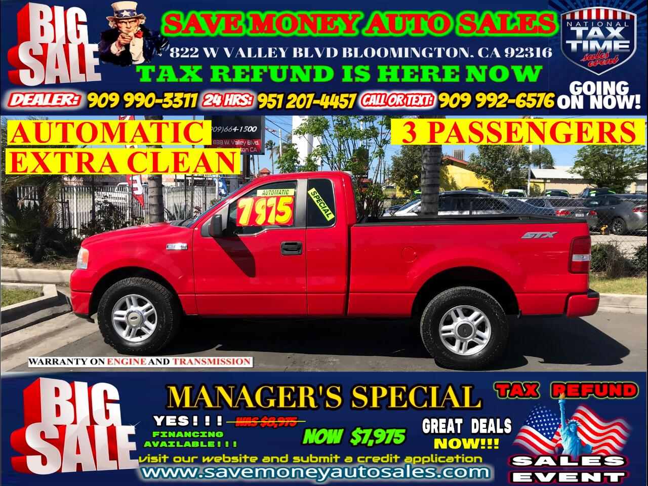 2007 Ford F-150 STX> 3 PASSENGERS> EXTRA CLEAN>
