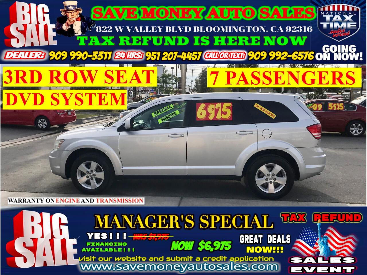 2009 Dodge Journey EDITION SXT>BACK UP CAMERA + BLUETOOTH + 3RD ROW S