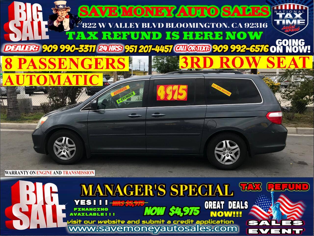 2006 Honda Odyssey EX-L W/DVD PLUS 3RD ROW SEAT AND MORE!!!!!