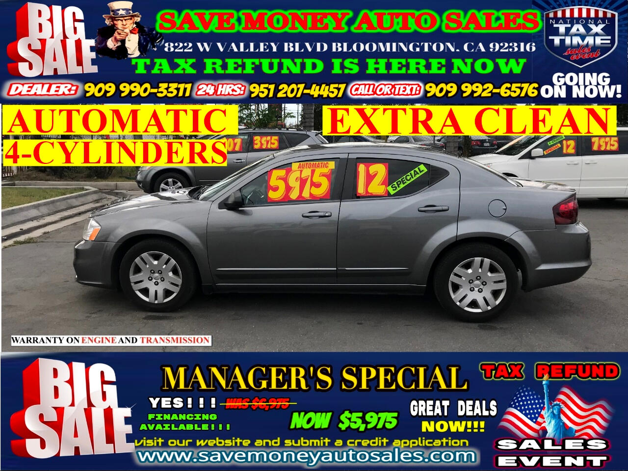 2012 Dodge Avenger BLUETOOTH>DVD PLAYER>ONLY 4 CYLINDERS>>>