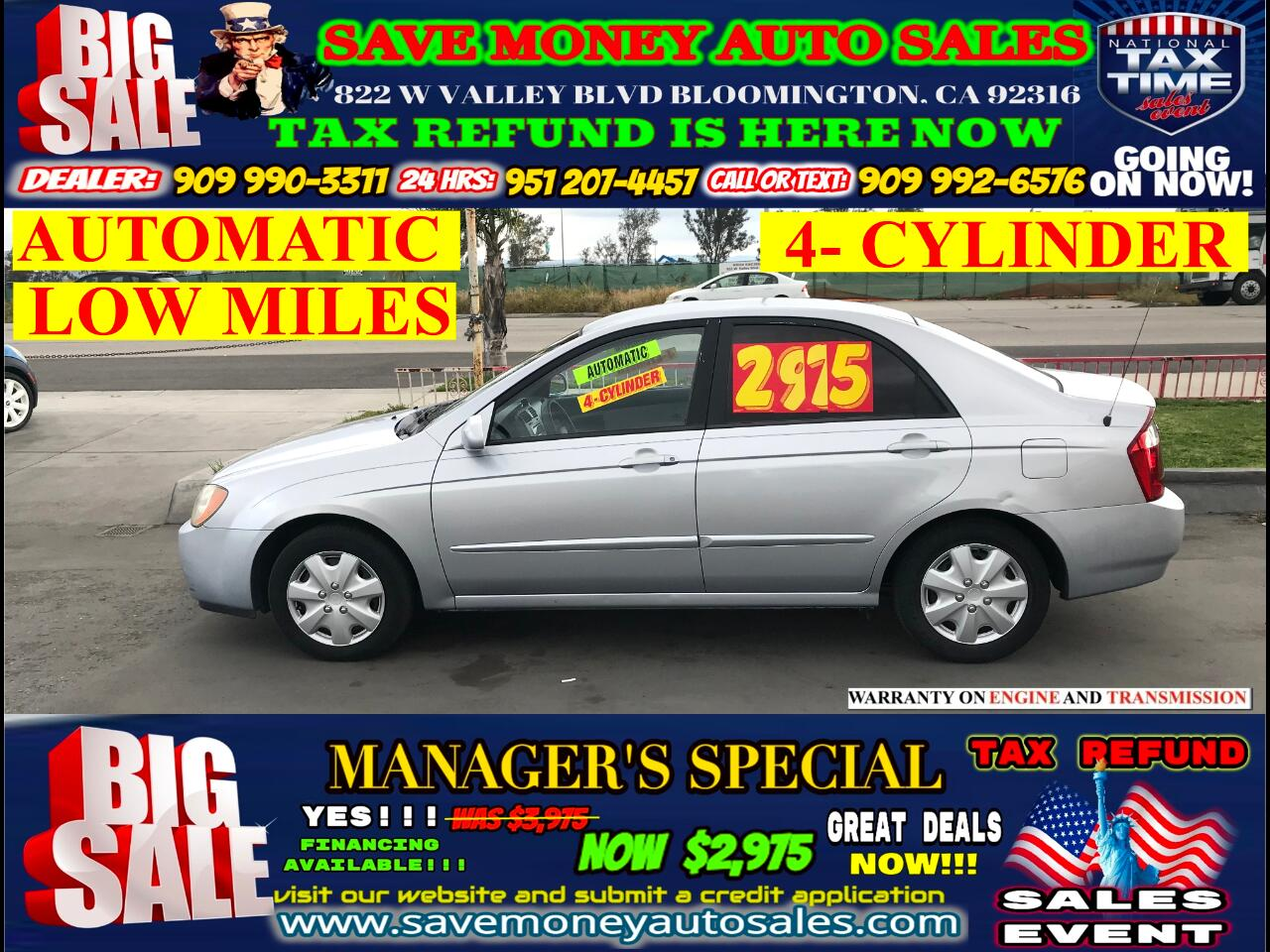 2005 Kia Spectra LX EDITION>LOW MILES ONLY 4 CYLINDERS>A MUST!!!!