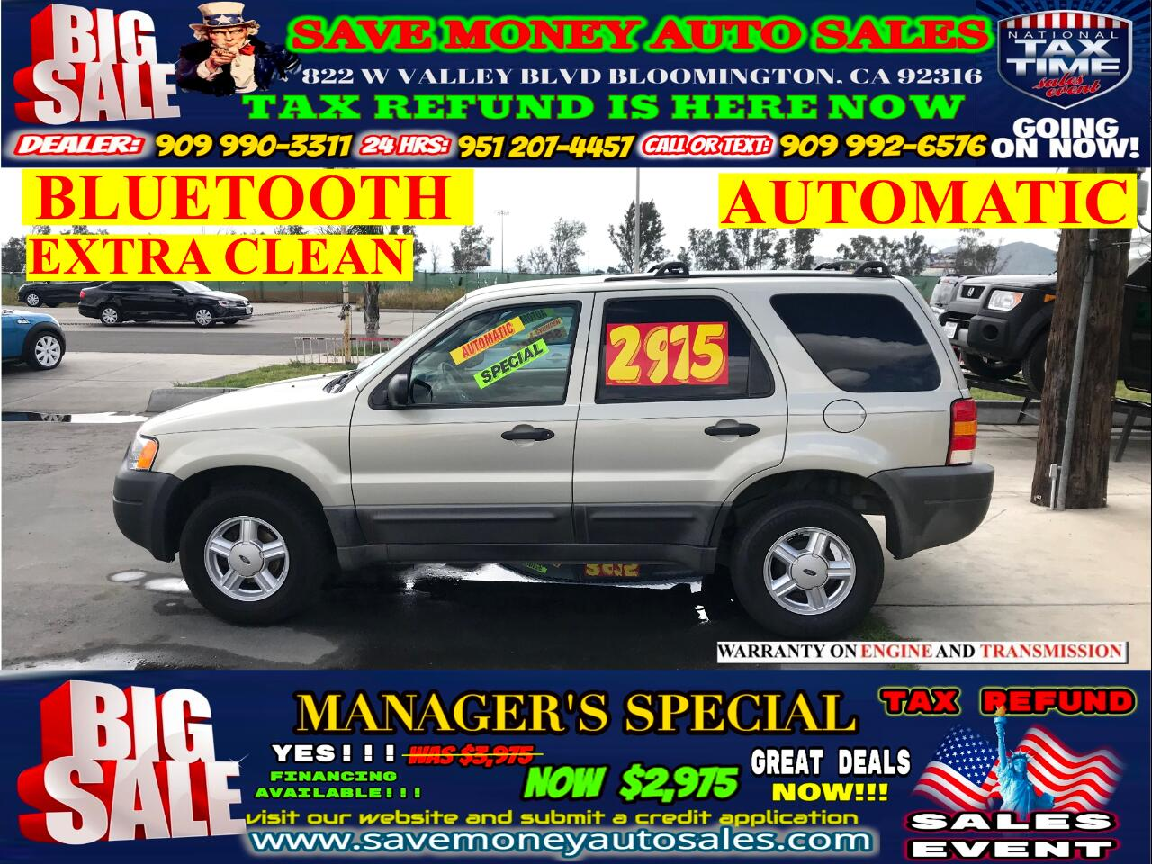 2003 Ford Escape XLS> AUTOMATIC> BLUETOOTH> EXTRA CLEAN
