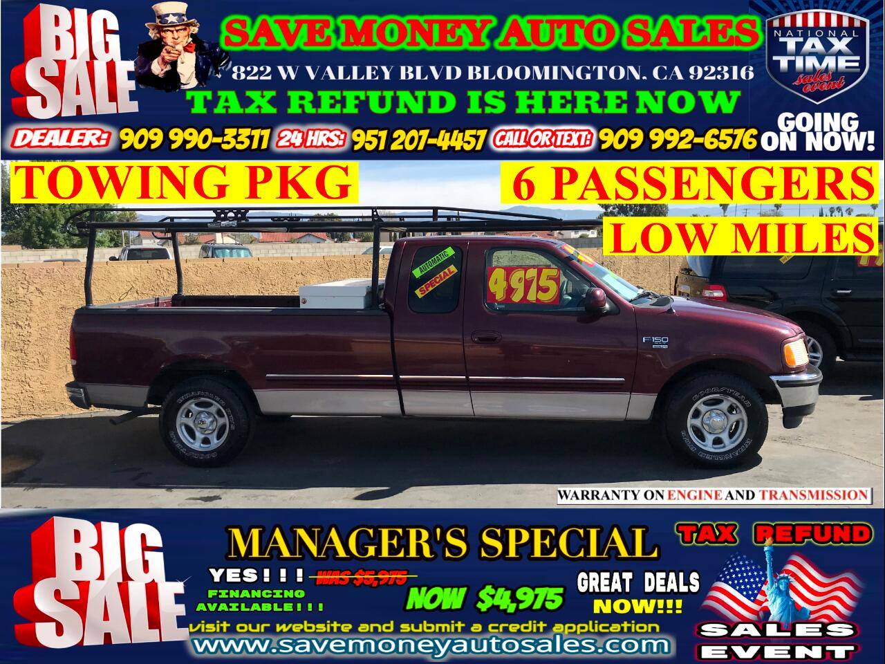 1998 Ford F-150 XL SUPERCAB>6 PASSENGER>LOW MILES>TOWING PKG
