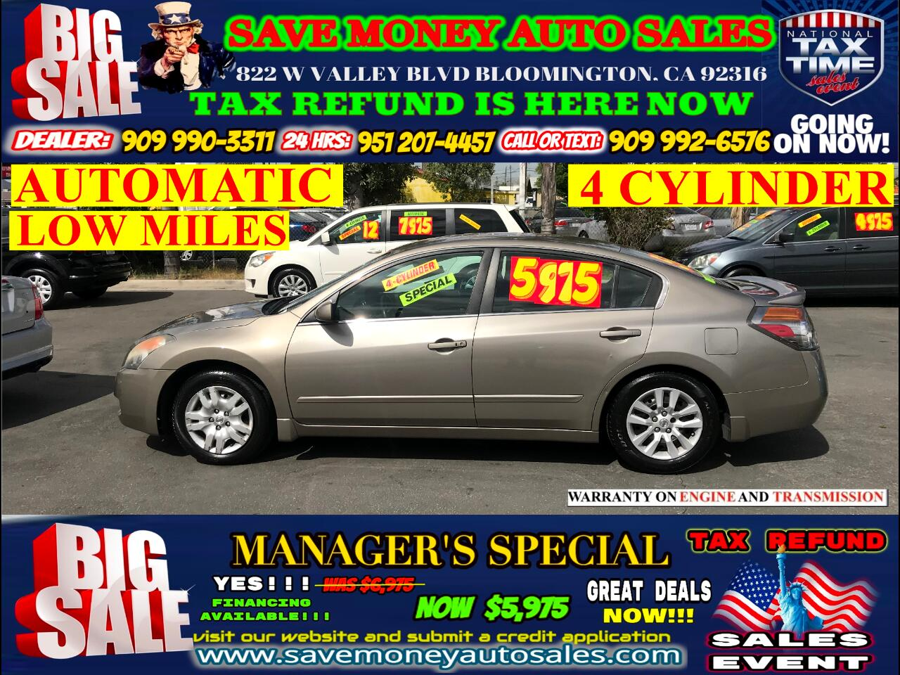 2008 Nissan Altima 2.5 S START ENGINE>LOW MILES>4 CYLINDER>