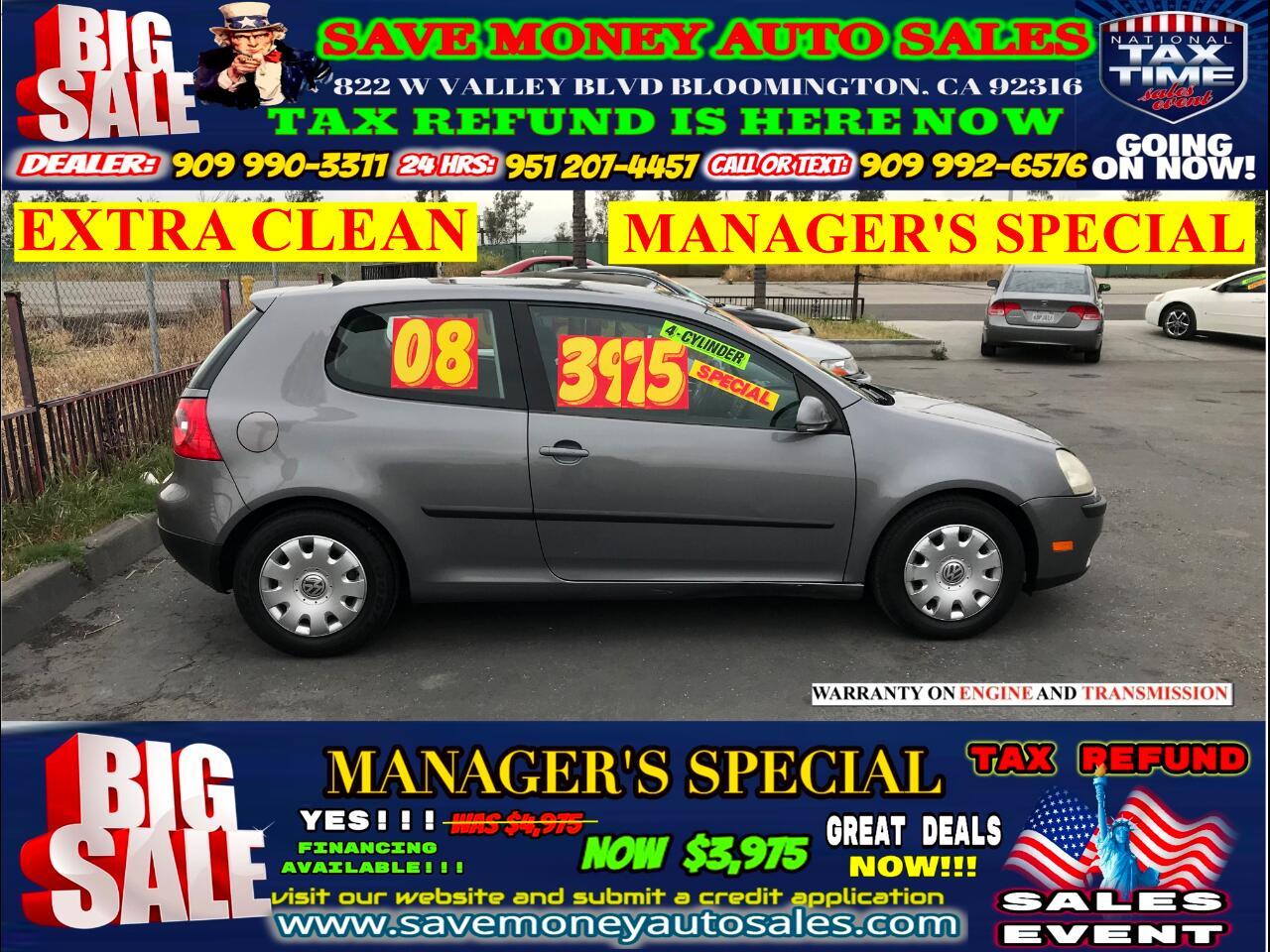 2008 Volkswagen Rabbit S> 5 CYLINDERS> EXTRA CLEAN>