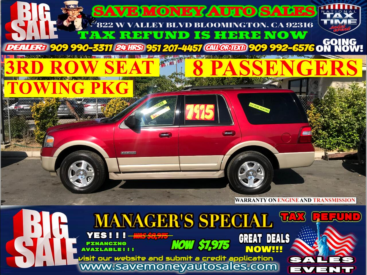2007 Ford Expedition EDDIE BAUER> 3RD ROW SEAT>8 PASSENGERS