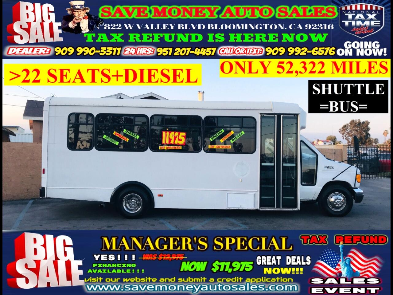 2004 Ford E-450 Super Duty SHUTTLE BUS>22 SEATS>52,322 MILES>TURBO DIESEL>>