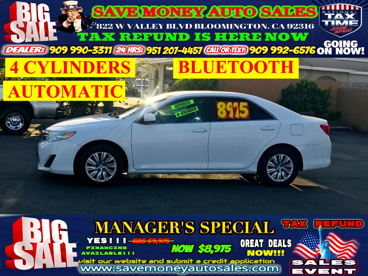 2013 Toyota Camry XLE>>.BLUETOOTH PLUS ONLY 4 CYLINDERS>EXTRA CLEAN!