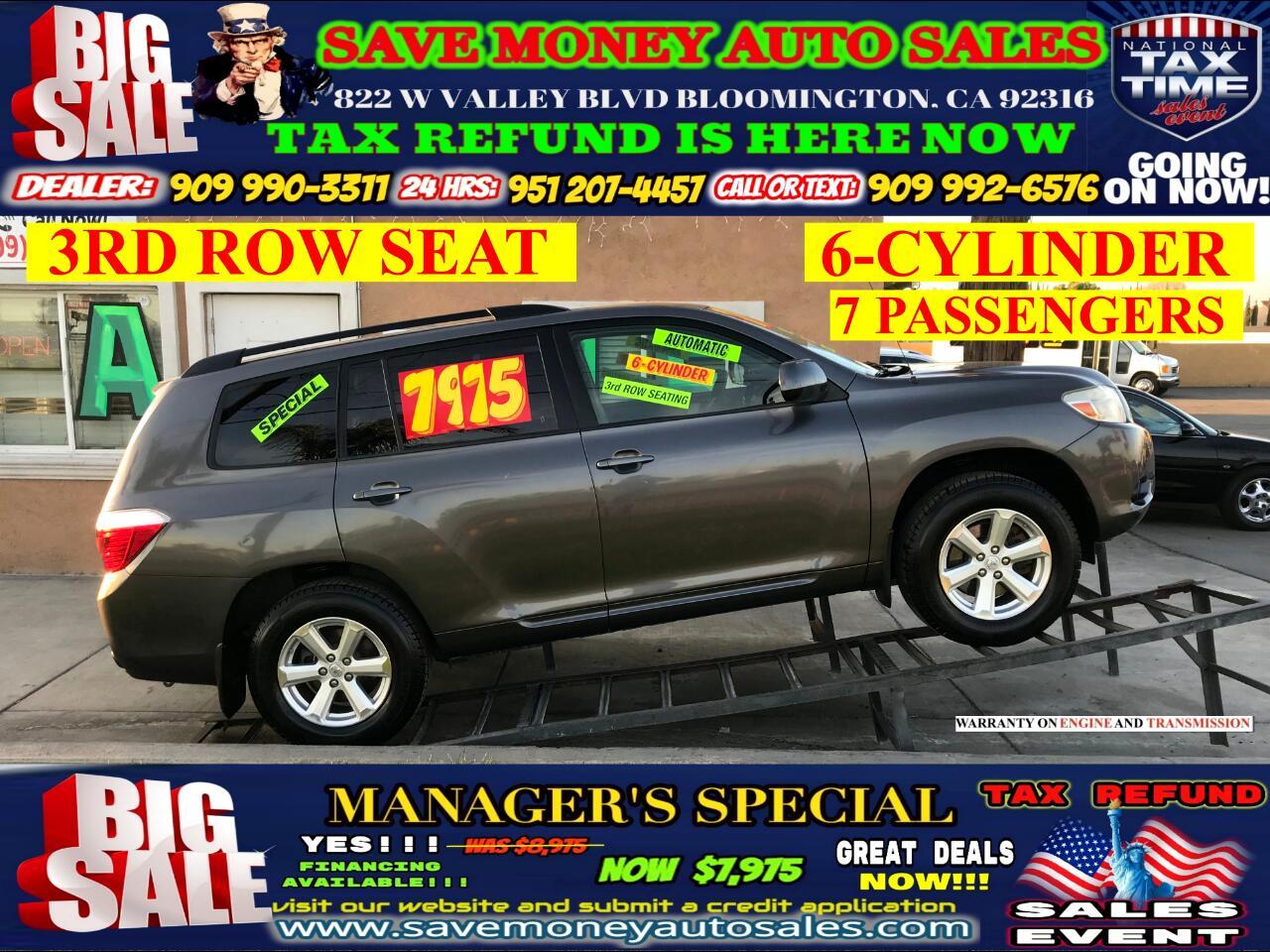 2008 Toyota Highlander 6- CYLINDER> 3RD ROW SEAT> 7 PASSENGERS