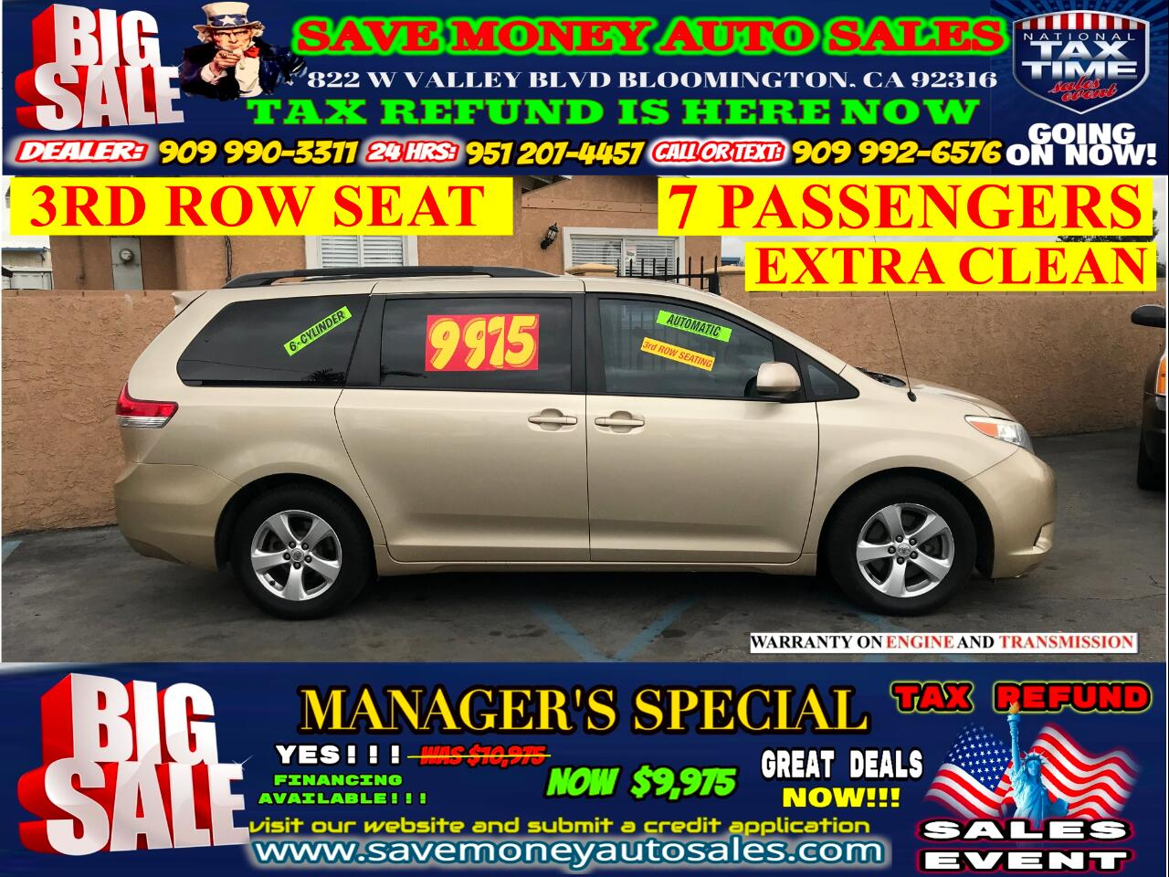 2013 Toyota Sienna LE >3RD ROW SEAT> 7 PASSENGERS> 6 CYLDS> EXTRA CLE