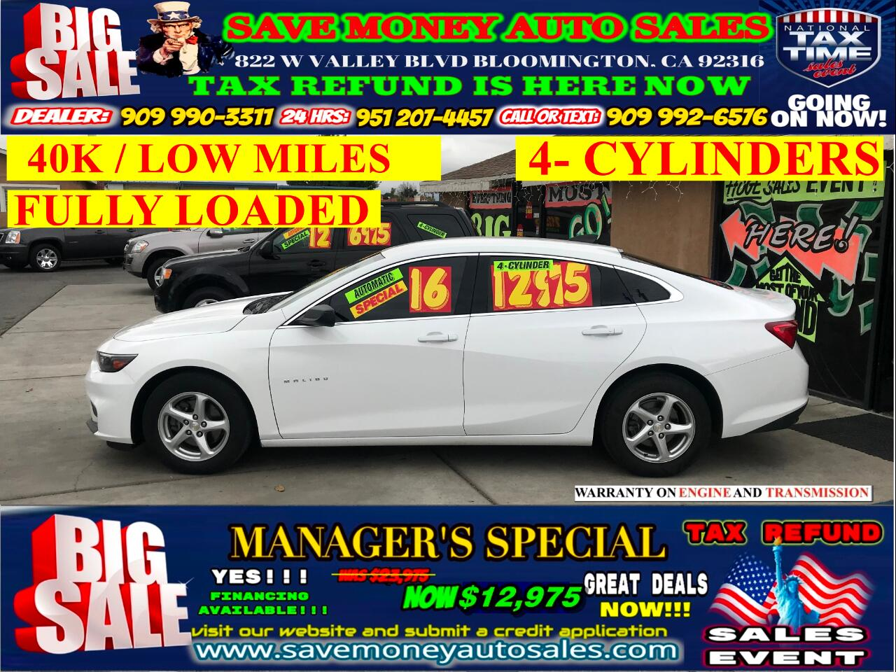 2016 Chevrolet Malibu LS> LOW MILES> 40K> FULLY LOADED
