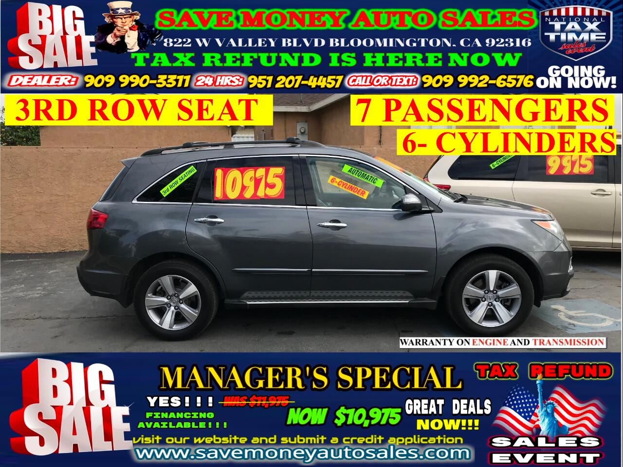 2011 Acura MDX AWD> 3RD ROW SEAT> 7 PASSENGERS> 6-CYLDS