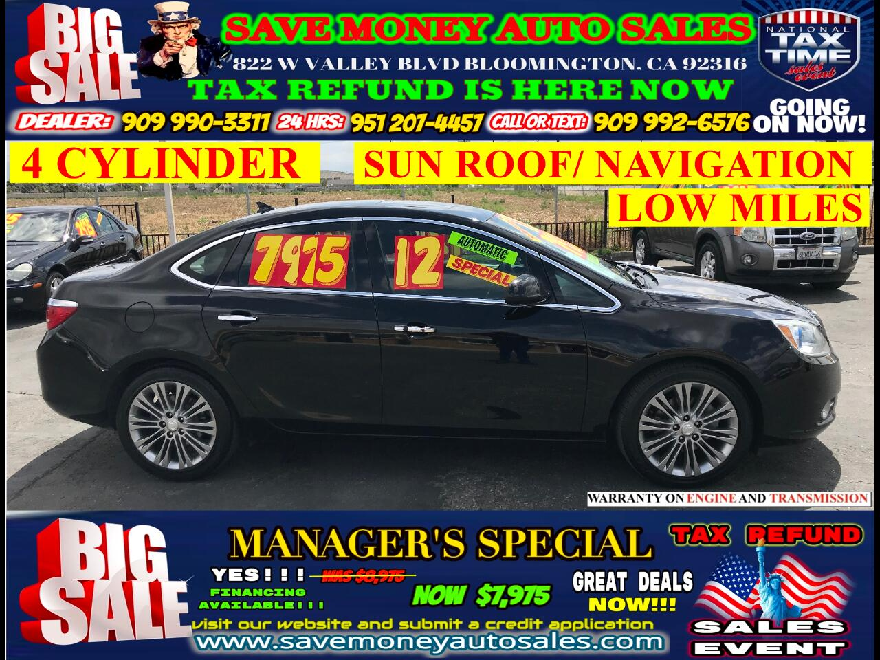 2012 Buick Verano LEATHER> LOW MILES> 4 CYLINDER> SUN ROOF