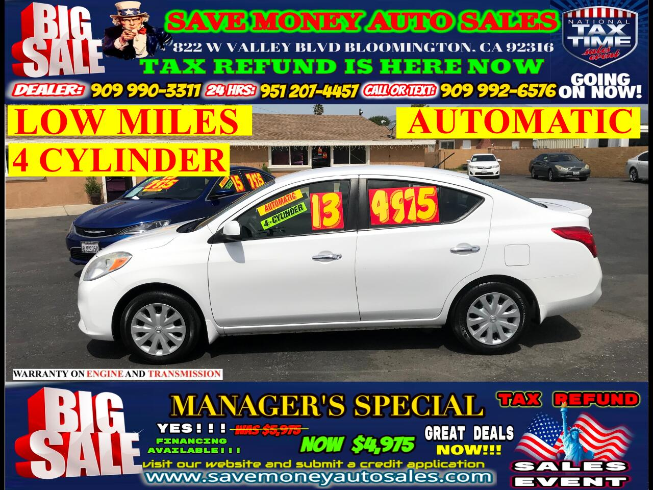 2013 Nissan Versa SV 1.6L> 4 CYLINDER> AUTOMATIC> EXTRA CLEAN