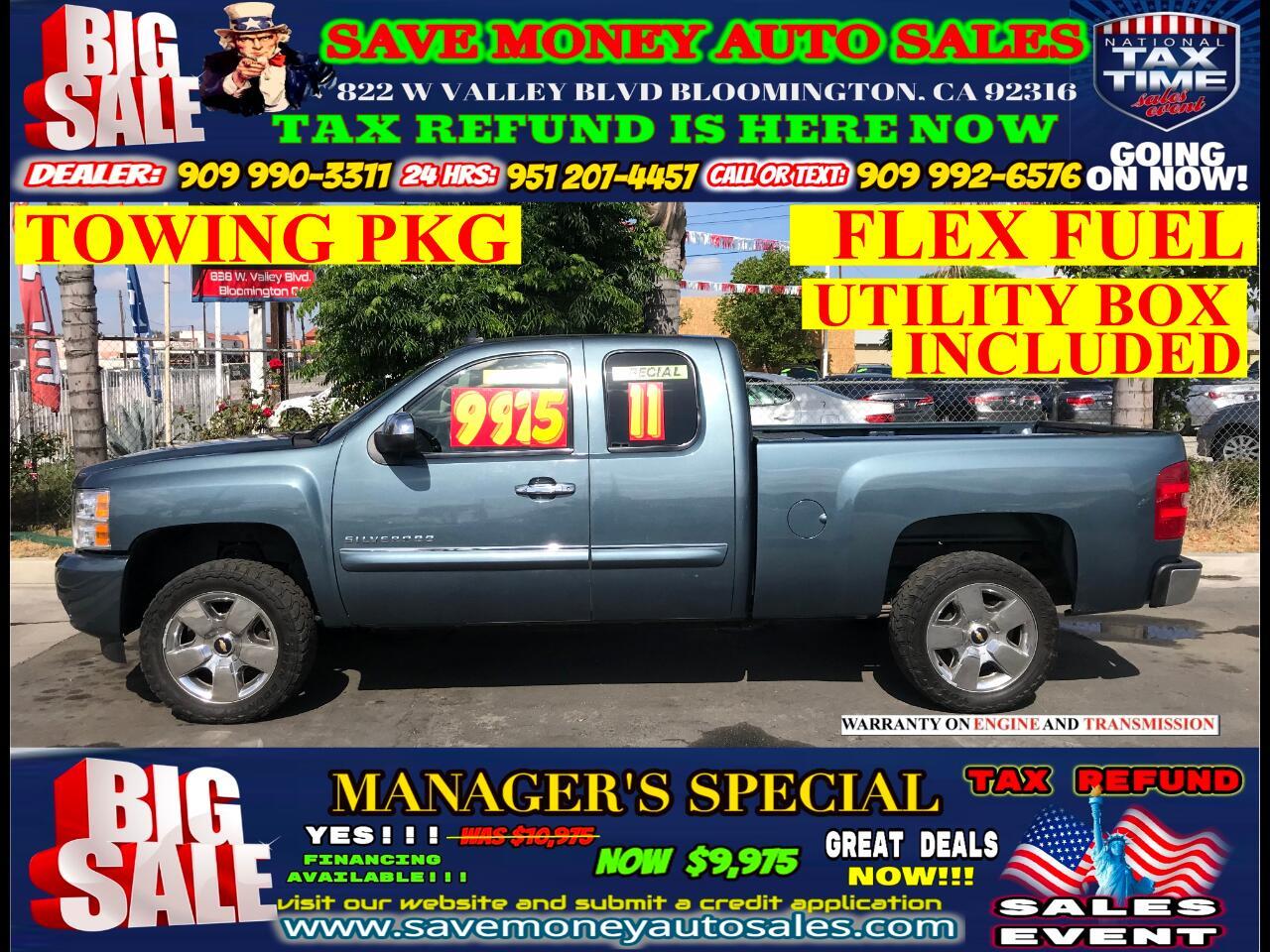 2011 Chevrolet Silverado 1500 LT EXT. CAB LONG BOX> FLEX FUEL> TOWING PKG> UTILI