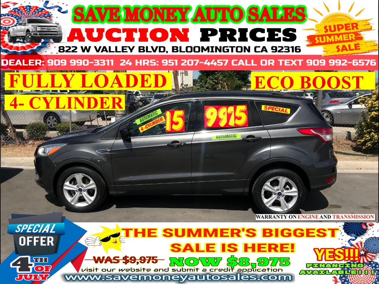 2015 Ford Escape SE FWD> 4 CYLINDER> ECO BOOST> FULLY LOADED