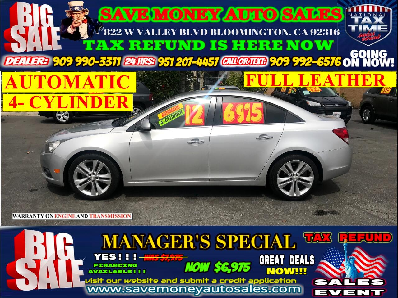 2012 Chevrolet Cruze LTZ> 4 CYLINDER>LOW MILES> FULL LEATHER