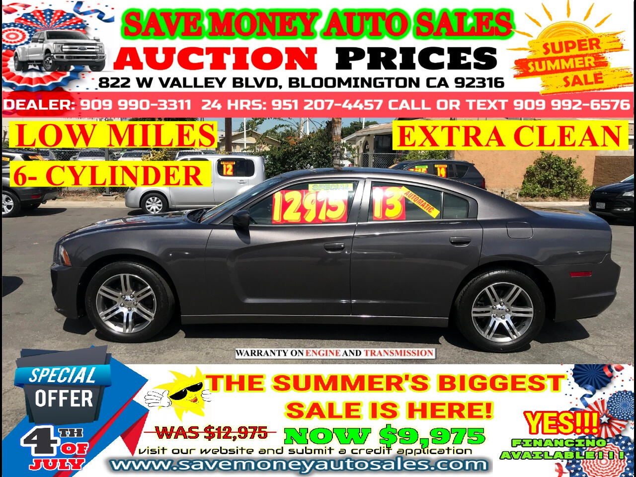 2013 Dodge Charger SE> LOW MILES> 6 CYLDS> START ENGINE